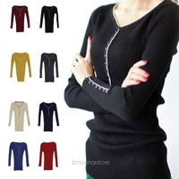 50 Women Spring & Autumn Long Sleeve Solid Cotton Flat Knit Pullover Sweater Tops WE1331