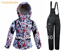 Wholesale Professional tandarvier child ski suit set windproof child cotton-padded jacket White flowers