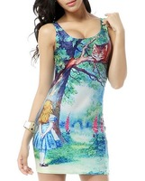 Wholesale 10%OFF New 2014 summer black milk animal cat cartoon digital print women sexy vest club beach dress slim sundress