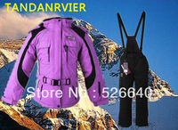 Wholesale Zangwill professional adult ski suit set thermal cotton-padded jacket waterproof windproof set purple