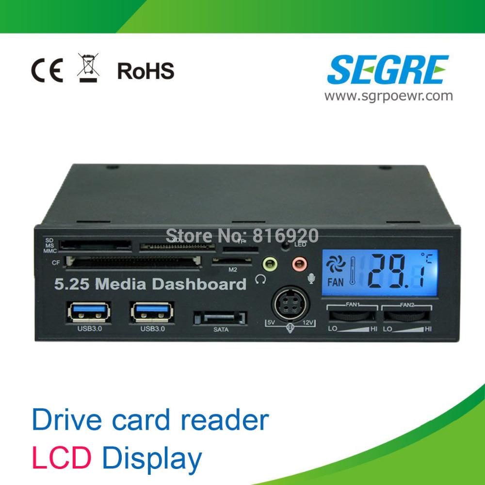 Envío gratuito e pci a usb3.0 paneles frontales/unidades panel de un lector de tarjetas usb hub 3.0 con pantalla lcd.