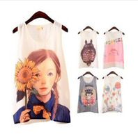 Plus Size  2014 New Summer Womens Ladies Rococo Oil Painting Romantic Print Pattern Vest Camis Chiffon Tanks Tops In Stock