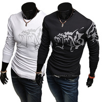 Free Shipping 2013  New Arrival Chinese Style Domineering hellions tattoos Men's Slim Long Sleeve T shirt A227