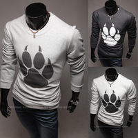 Free Shipping 2013  New Arrival Special Bear Paw Print Men's Long Sleeve O-neck T Shirt  Cotton Shirt A239