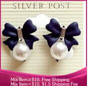 B214 new 2014 Fashion jewelry bowknot pearl  earrings for women