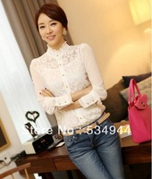 2013 autumn elegant women's plus size chiffon shirt long-sleeve basic shirt lace top free shipping 5126