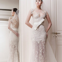 2014  zuhair leg of perspectivity murad lace see though mermaid  wedding dress  real photo a1004