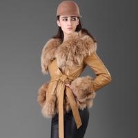 2014 Winter New Arrival Women's Genuine Sheepskin Leather Down Jacket Fox Fur Collar Leather Short Slim Overcoat Christmas Gift