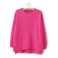autumn all-match low-high irregular placketing pullover sweater female