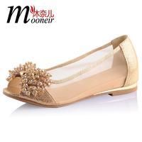 Open toe sandals genuine leather rhinestone gauze shoes open toe wedges shoe female shoes flat