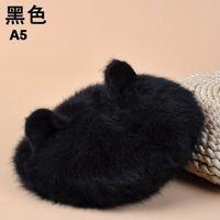 Women winter popular fashion cat ear warm rabbit fur knitted beret hats