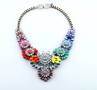 2013 Fashion New Luxury multicolor Crystal Flower Pendants Chokers Statement Necklace For Woman Free Shipping