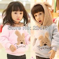 Free shipping Autumn Winter Children girl's hoodies jacket coat baby girl's cotton Sweater jacket coat with rabbit design