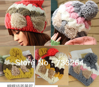 Free Ship Hot Sale Fashion Design Women Keep Warm autumn Winter Style Knitted Cap Bow  Casual Princess hat hot sale