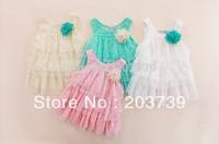 Girl's Big Flower Lace Condole Belt Dress Children Lace Cake Princess Dress