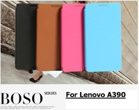 BOSO TOP Brand leather flip case cover for lenovo a390 a390T phone cases free screen protector flim free shipping