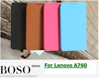 BOSO TOP Brand leather flip case cover for lenovo a760 phone cases free screen protector flim free shipping