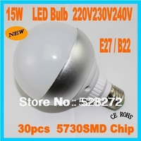 5PC Free shipping Super Bright LED bulb 15W E27/B22 30pcs 5730SMD led light lamp Cold white/warm white AC220-240V LED lighting