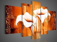 100%handmade Hi-Q abstract modern Wall decor calla lily wall art orange wall painting 5pcs/Set living room decoration F/033