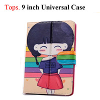 "9 Inch Cute Cartoon Protective Leather Stand Case with Magnetic Closure for 9"" Tablet PC 10 Patterns Girl Student"