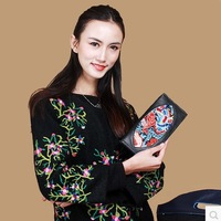 Chinese style bags carousingly embroidery embroidered design cowhide long wallet