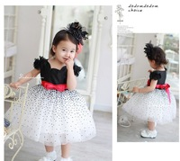 FREE SHIPPING NEW HOT Girl Dresses Summer   New Fashion Print Dot With Bow Children Clothing Fit 2-6 age IN STOCK