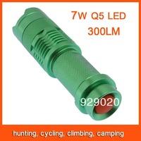Mini LED Flashlight Torch Adjustable Focus Zoom 7W 300LM Light Lamp Green Free Shipping 82801