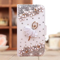 luxury rhinestone crystal mobile phone case leather bag For Samsung Galaxy Note 2 Note2 II N7100 Case   free shipping