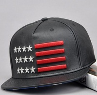 2014 fashion new adult popular top quality PU leather five stars 3D embroidery flat hip-hop snapback hats