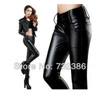 2013 New autumn winter fashion PU female trousers tights pencil pants basic boot cut jeans warm for women's thermal black velvet