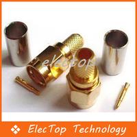 Free shipping SMA Male Plug Straight Crimp for RG58 RG142 RG223 RG400 LMR195 Connector 200pcs/lot Wholesale
