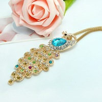 Free shipping Christmas gifts fashion quality pendant alloy rhinestone vintage peacock long necklace 2013 women jewelry