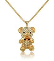 Korean fashion 2013 women jewelry Christmas gifts full of rhinestone alloy bear long necklace free shipping hot sell