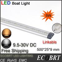 2014 Hot Sale New Arrival 10pcs/lot 500mm Long 9.5-30v Battery Led Tube Marine Boat Strip Lights Linkable for Wine Cabine Bar