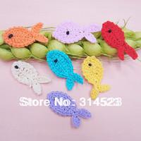 70pcs a lot  cute hand cotton crochet fish flower patch  for kids dress