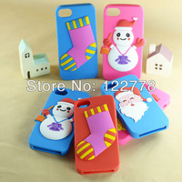 Christmas Gift Red Santa Claus silicon case for iPhone 4 4S 5 5S Cute 3D cartoon cover
