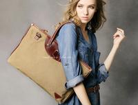 BAZ34 Vintage Washed Canvas Leather Shoulder bag messenger shopper handbag work book laptop notebook bag women girl boy men