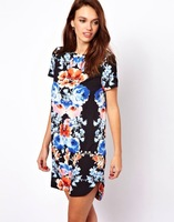Girls Old-School Style Flower Prints Short Sleeves Casual Dress DR1075-A02