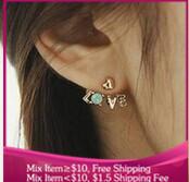 B220 vintage fashion LOVE Imitation diamond Women jewelry Stud Earrings wholesale