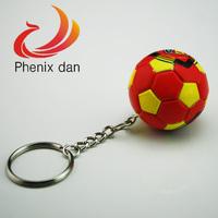 38mm 10pcs/lot  Spain's national flag Football design charm keychain ring for keys decoration NEW