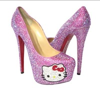 newly cute cat gril high heels  crystal fashion pink/purple platfrom pumps on sale!!