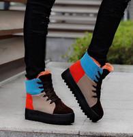 Fashion patchwork 2014 platform snow boots cotton-padded shoes boots winter boots women's shoes medium-leg boots