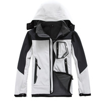 2014 New brand autumn and winter softshell Waterproof, breathable Outdoor for men mountain hiking Ski suit man jacket coat +hood