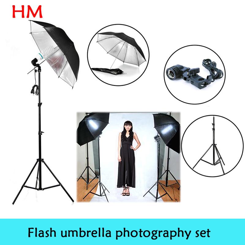 New 2014 photo stuido photography set light studio light Photography lamp holder Black Silver Flash Reflector Studio Umbrella(China (Mainland))