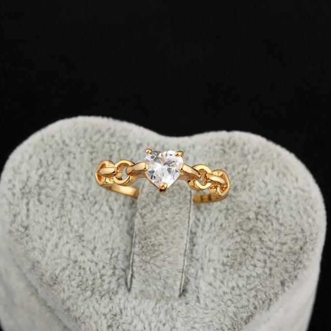 18k Gold Plated Heart Shape CZ Stone Love Finger Rings