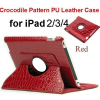EMS Freeshipping 30pcs/Lot New Luxury crocodile texture Stand Leather Case For Ipad2/3/4