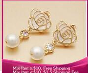 B227 Fashion roses pearl Women jewelry earrings