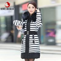 Oilbird jacket winter 2014 Raccoon luxury large fur collar medium-long slim thickening down coat female /parkas