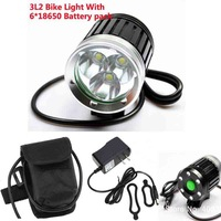 New 3L2 Bike Light 3xCree XM-L2 4000LM 4 Modes 6*18650 Battery LED Bike Front Light +Free Shipping
