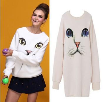 2014 winter women's animal fashion cute Oversized Plus Size Harajuku Blue Eye Cat Printed thick fleece women sweater sweatshirt(China (Mainland))